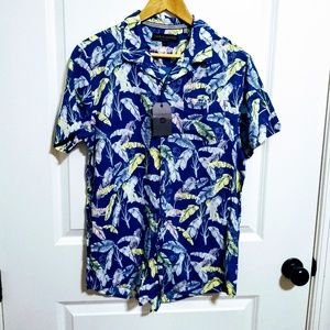 New Free Planet Floating Feathers Button Down